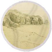 Pele Point, Land's End Round Beach Towel