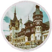 Peles Castle In Sinaia, Romania Round Beach Towel by Radu Bercan