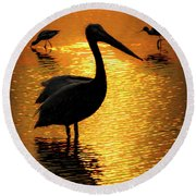 Pelican And Avocets Round Beach Towel