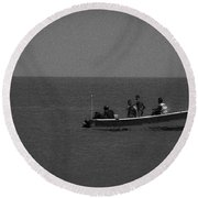 Pelican And The Fishing Boat Round Beach Towel
