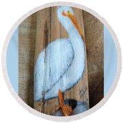 Pelican Round Beach Towel by Ann Michelle Swadener