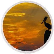 Pelican At Silver Lake Sunset Ocracoke Island Round Beach Towel by Greg Reed