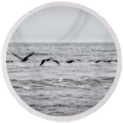 Pelican Black And White Round Beach Towel