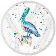Pelican By Jan Marvin Round Beach Towel