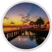 Pelican Cafe Sunrise Round Beach Towel by Tom Claud