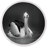 Pelican Round Beach Towel by Charuhas Images