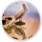 Pelican Connection 2 Round Beach Towel