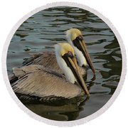 Round Beach Towel featuring the photograph Pelican Duo by Jean Noren