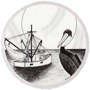 Pelican Fishing Paradise C1 Round Beach Towel