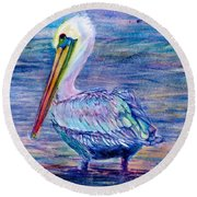 Pelican Gaze Round Beach Towel