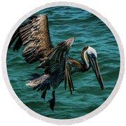 Pelican Glide Round Beach Towel