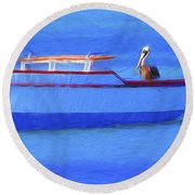 Pelican In Aruba Round Beach Towel
