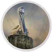 Pelican In Paradise Squared Round Beach Towel