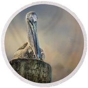 Pelican In Paradise Round Beach Towel