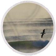 Pelican In Sea Smoke Round Beach Towel