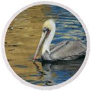 Pelican In Watercolors Round Beach Towel