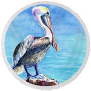 Round Beach Towel featuring the painting Pelican On A Post  by Carlin Blahnik CarlinArtWatercolor