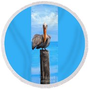 Pelican On Pier Round Beach Towel