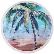 Pelican Palm II Round Beach Towel