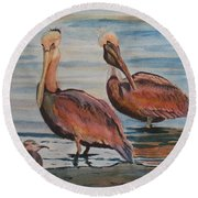 Round Beach Towel featuring the painting Pelican Party by Karen Ilari