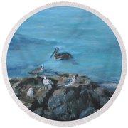 Pelican Patrol Round Beach Towel