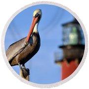 Pelican Perched Under Jupiter Lighthouse, Florida Round Beach Towel