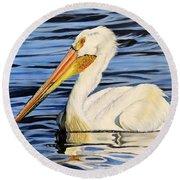 Pelican Posing Round Beach Towel by Marilyn McNish