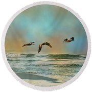Pelican Trio Round Beach Towel