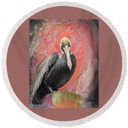Pelican With Red Round Beach Towel