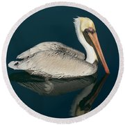 Pelican With Reflection Round Beach Towel