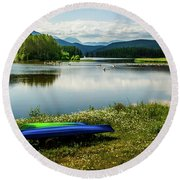 Pelicans At Shadow Mountain Lake Round Beach Towel