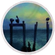 Round Beach Towel featuring the photograph Pelicans At Sunset by Jan Amiss Photography
