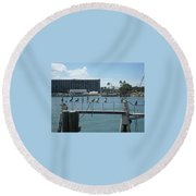 Pelicans In A Row Round Beach Towel