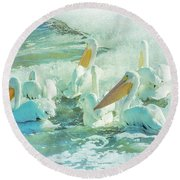 Pelicans On The Tide Round Beach Towel