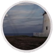 Pemaquid And Full Moon Round Beach Towel