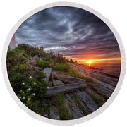 Pemaquid Sunrise Round Beach Towel by Neil Shapiro