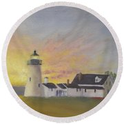 Pemaquid's First Light Round Beach Towel