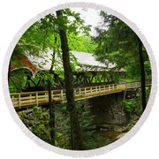 Round Beach Towel featuring the photograph Pemigewasset Covered Bridge by Alana Ranney