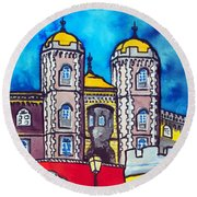 Round Beach Towel featuring the painting Pena Palace In Sintra Portugal  by Dora Hathazi Mendes