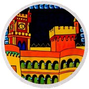 Round Beach Towel featuring the painting Pena Palace Portugal by Dora Hathazi Mendes