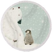 Round Beach Towel featuring the painting Penguin And Bear by Bri B