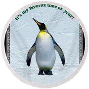 Penguin Christmas Round Beach Towel by Steve Karol