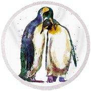 Penguin Couple Round Beach Towel