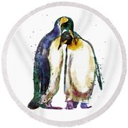 Penguin Couple Round Beach Towel