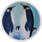 Penguin Family  Round Beach Towel