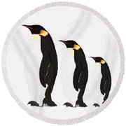 Penguins Family  Round Beach Towel