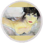 Round Beach Towel featuring the painting Penley by Ed Heaton