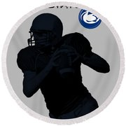 Round Beach Towel featuring the digital art Penn State Football by David Dehner