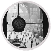 Penn Station Clock Round Beach Towel by Van D Bucher and Photo Researchers