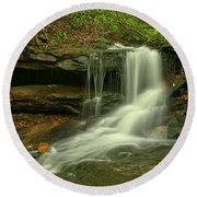 Pennsylvania Cave Falls Round Beach Towel